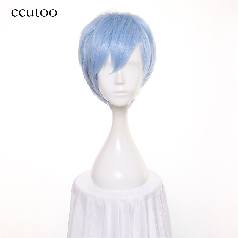 ccutoo A3 12inch Blue Short Straight Synthetic Hair Heat Resistance Fiber Cosplay Wigs