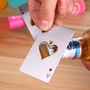 Image 3 - Black/Silver Poker Card  Spades Beer Bottle Opener Personalized Stainless Steel Bottle Opener Bar Tool