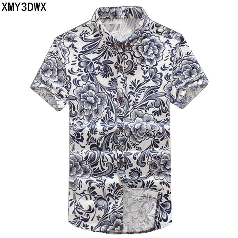 e54503f6b جديد 2017 الصيف الرجال الموضة الترفيه الكتان قصيرة الأكمام قميص/الرجال  التلبيب عادية نمط قميص/رجالية الطباعة تصميم قميص
