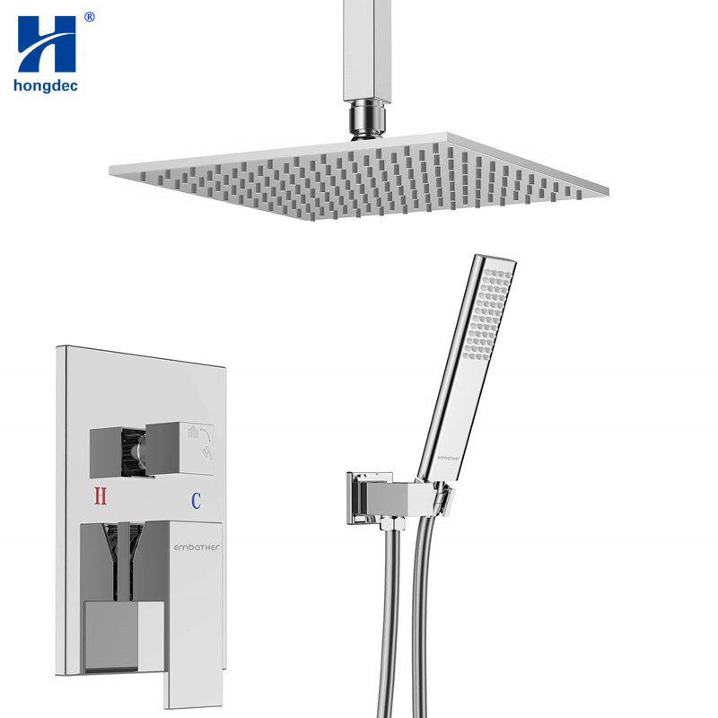 Hongdec Plafond Système De Douche De Luxe Douche Combo Set avec 12 pouce Carré Pluie Douche Tête et De Poche