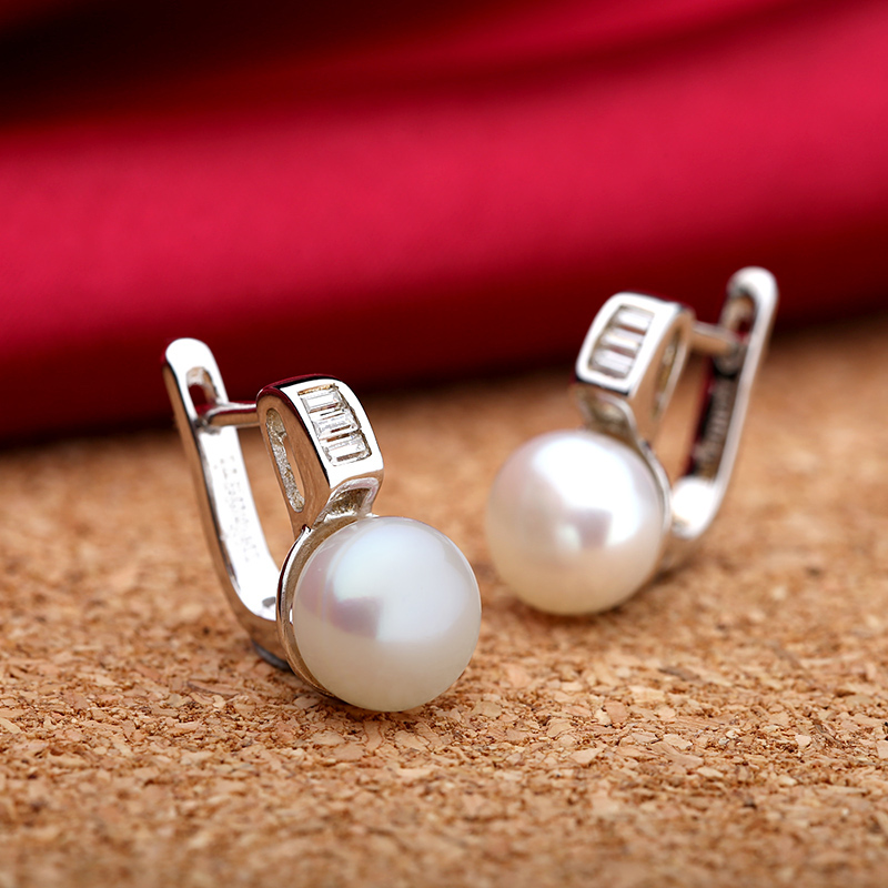 TZ4107EB 925 Sterling silver natural freshwater pearls earring 1