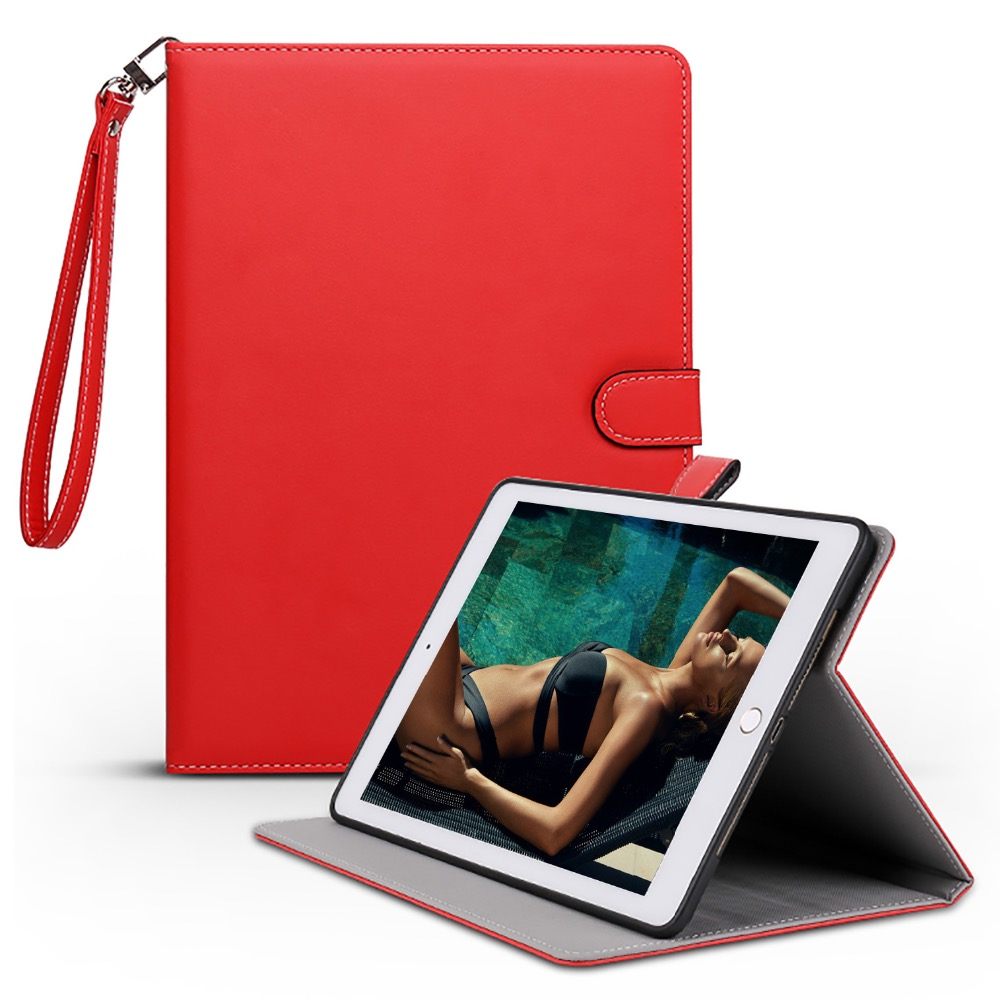 Case For Ipad 2017,PU Surface+TPU Soft Back+Hand Strap Holder Smart Cover For New Ipad 9.7 Inch