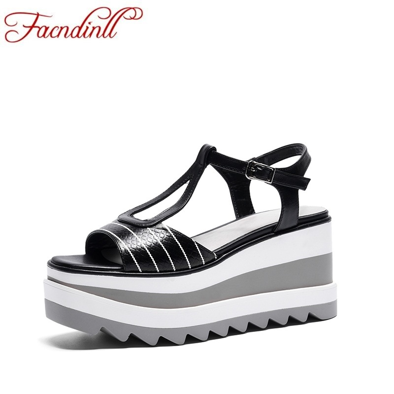 FACNDINLL high qulaity women summer sandals 2018 hot new casual date shoes women genuine leather platform sandals dress facndinll new women summer sandals 2018 ladies summer wedges high heel fashion casual leather sandals platform date party shoes