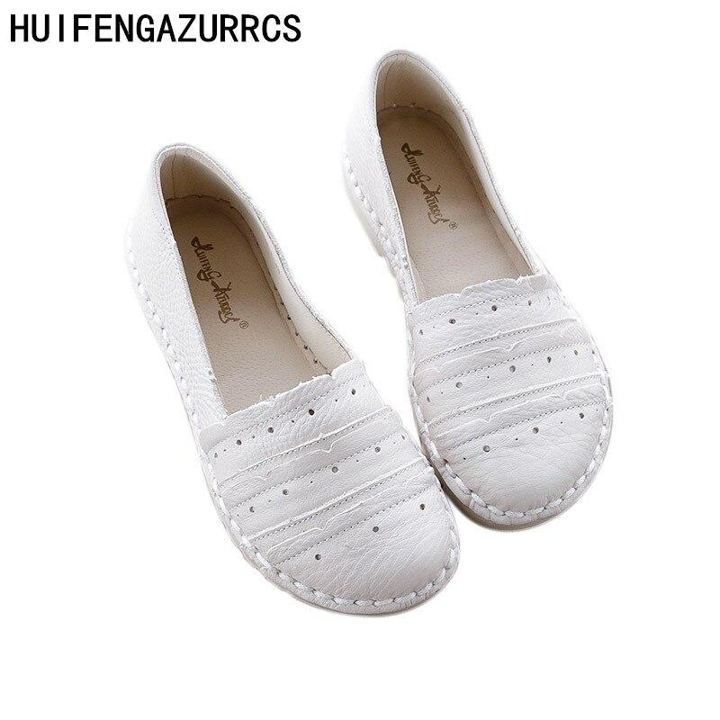 Huifengazurrcs 봄 새로운 정품 가죽 라운드 헤드 신발 레저 슈퍼 부드러운 힘줄 끝 낮은 구두 봄 새로운 가죽 신발-에서여성용 플랫부터 신발 의  그룹 1