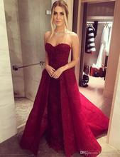 2017 neu Kommen Burgund Spitze Brautkleider Schatz Pailletten Appliques Dark Red Abendkleider Sexy Elegante Partei Formale Kleider