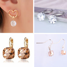 Crystal stud earrings for women Zircon Sliver Gold color wedding fashion Jewelry Geometric Create Earrings female Brinco gift A3(China)