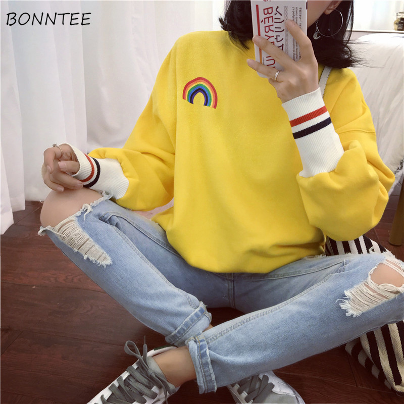 Hoodies Women Rainbow Striped Elastic Cuff O-Neck Kawaii Harajuku Printed Womens Korean Ulzzang Sweatshirt All-match Thicker