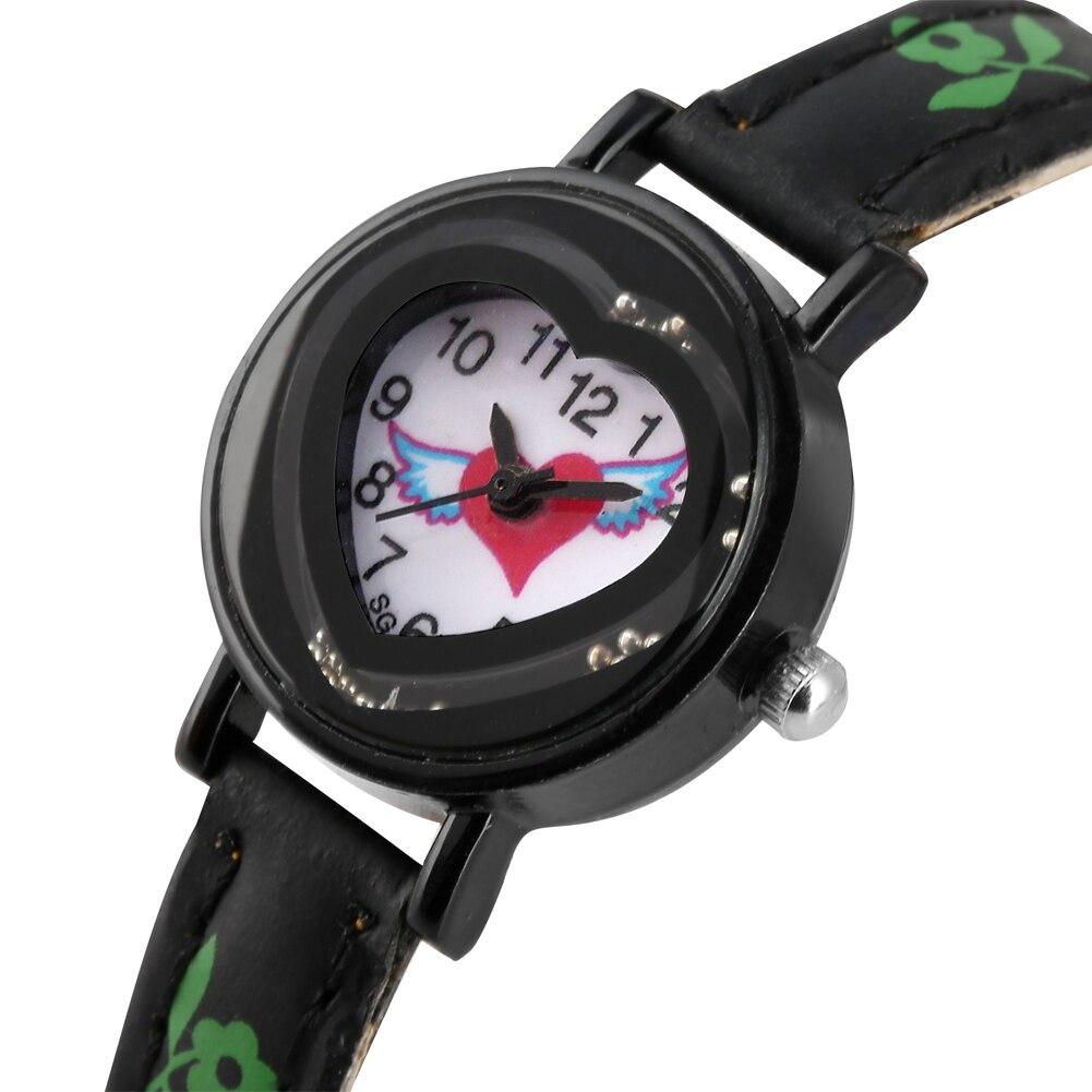Kids Quartz Analog Watch Heart-shaped Pattern PU Leather Band Watches Graceful Dial With Quicksand Balls Wristwatch Child Clock