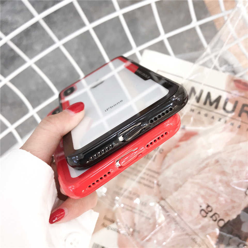 Glossy Case untuk iPhone X 5 6 6 S 7 7 Plus XR X Max Fundas Silikon Samsung J3 J5 j7 Pro S9 Catatan 9 J4 J6 A6 A8 2018 TPU Case