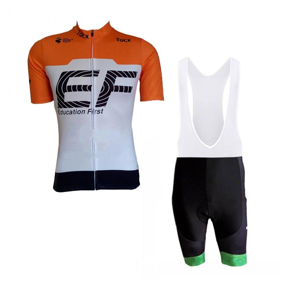 2018 uci pro team EF orange cycling jersey kits mens summer bike cloth MTB Ropa Ciclismo Bicycle maillot gel pad