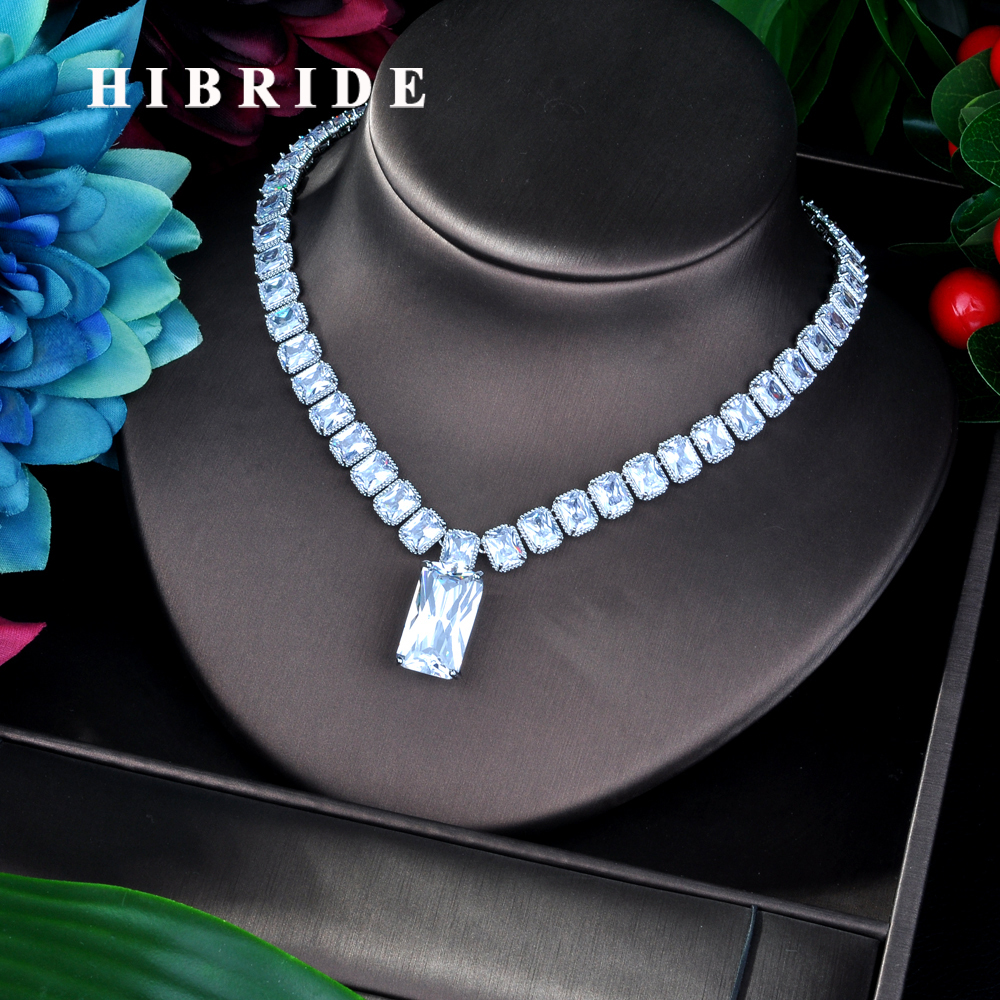 HIBRIDE Luxury AAA Cubic Zirconia Necklace Rectangle Shape Full CZ Pendant Necklace for Women Dress Accessories