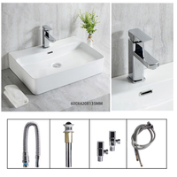 S660 Modern Simplicity Ceramic Countertop Sinks Rectangular Bathroom Sinks Artistic White Square Basin Bowl Household Washbasin