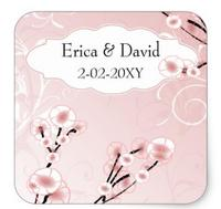 1.5inch pink cherry blossom envelopes seals square sticker