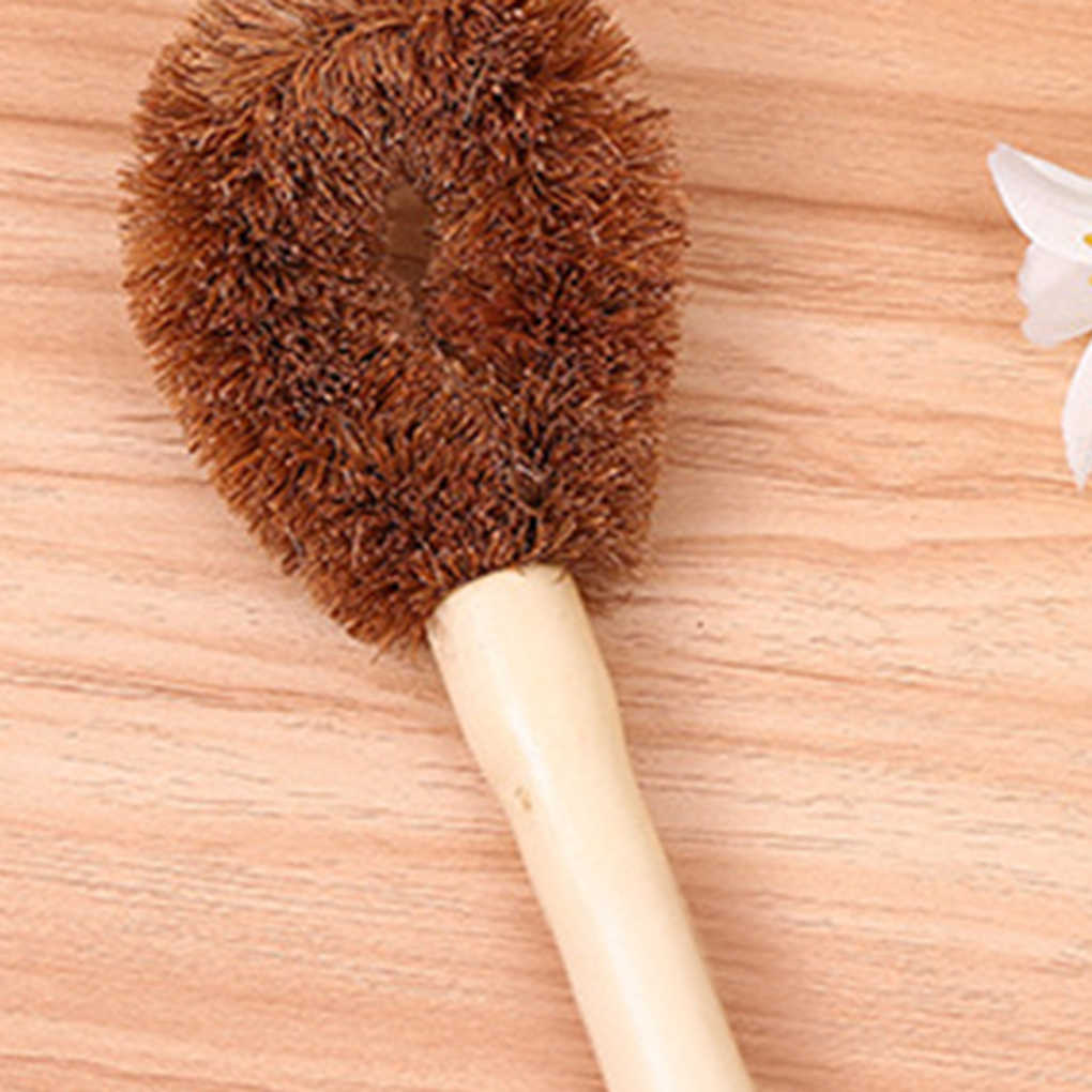Coconut Fiber Long Hand Pot Washing Brush Non-Stick Oil Bowl Brush for Kitchen Cleanup/Decontamination