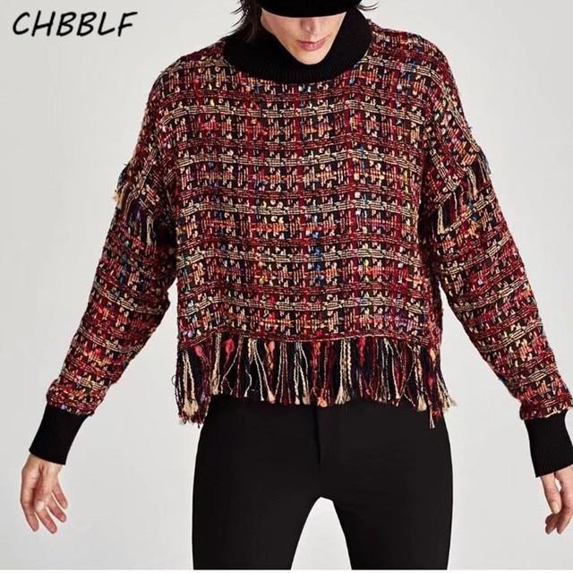 41d99a4f New European Ladies Stitching soft plaid blouse Fashion Long Sleeve  turtleneck tassel women tops DFD7113