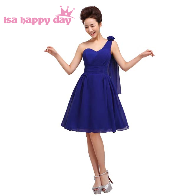 03ff6a0298b9 2018 nouvelle arrivée robe de soirée jolie bleu royal court dames fantaisie  une épaule de soirée partie robes élégante robe H1181