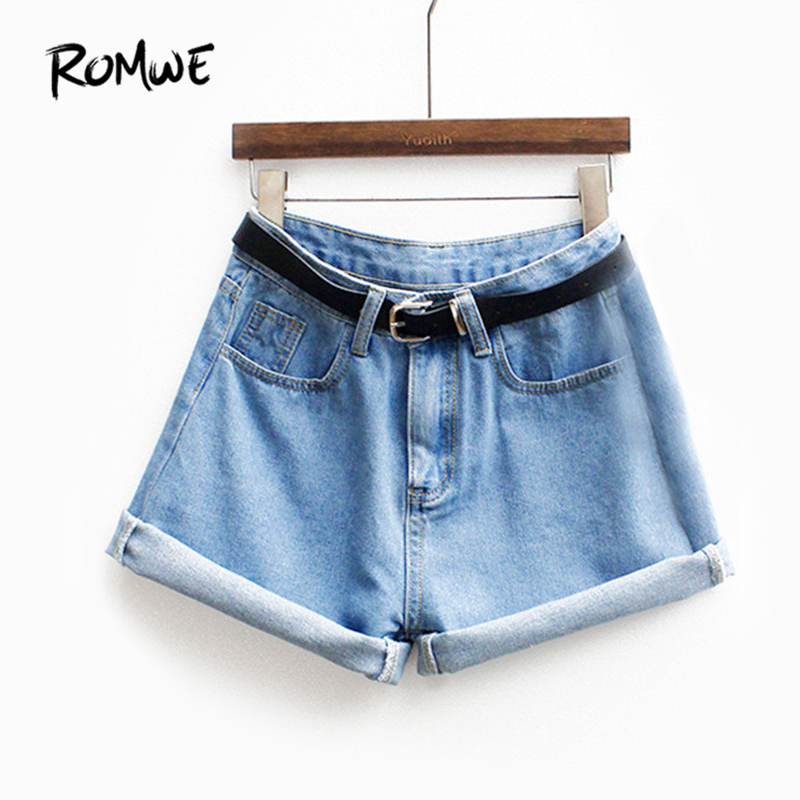 ROMWE Womens Brand Newest Spring Short Jeans Brand Mid Waist Denim Blue Button Fly With Pockets