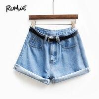 ROMWE Womens Brand Nieuwste Lente Korte Jeans Merk Mid Taille Denim Blue Button Fly Met Zakken en Riem Geboeid Shorts