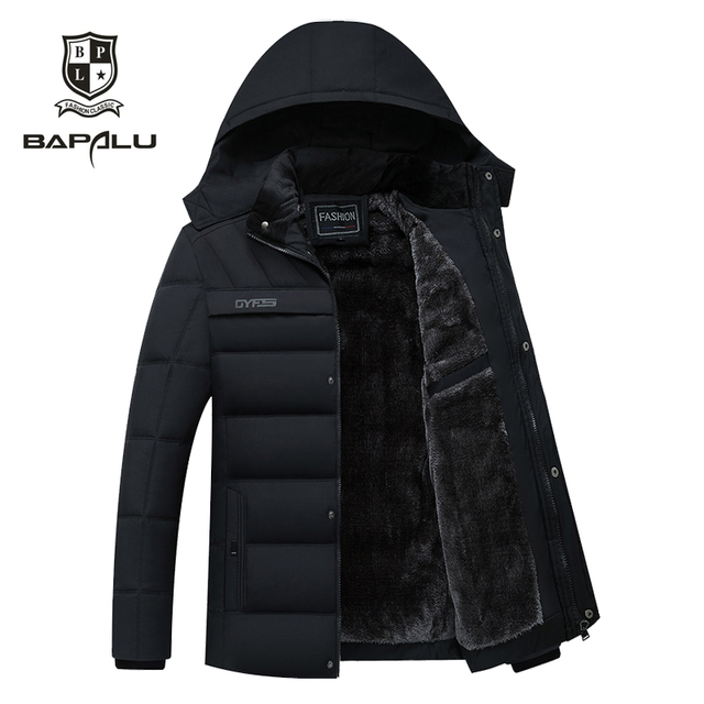 f250a710995e7 Winter jacket Men Middle aged Jacket Solid color lapel Casual Jacket Men s  Plus velvet thickening warm Jacket Coat 8208 -in Parkas from Men s Clothing  ...