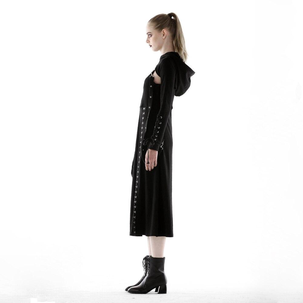 Gothique Pour Noir La Punk Ouvert Métallique Split Robe Haute Taille Vent Sangle 2018 Avec Crochet Dos Foncé Travail Coutures Lourd Nw80kPXnO