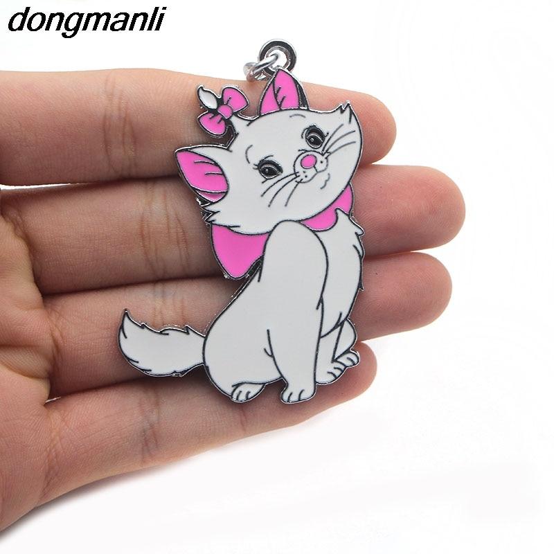 купить P1490 Dongmanli The Aristocats cat key chain rings fashion animal key chain personalized car key chain women bag key ring по цене 120.36 рублей