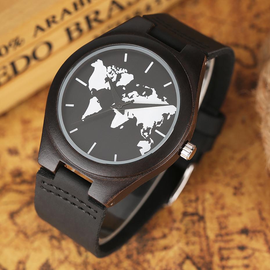 2017 Fashion Nature Ebony Wood Watch Mens World Map Handmade Black Quartz Wristwatch Minimalist Classic Bamboo erkek kol saati (8)