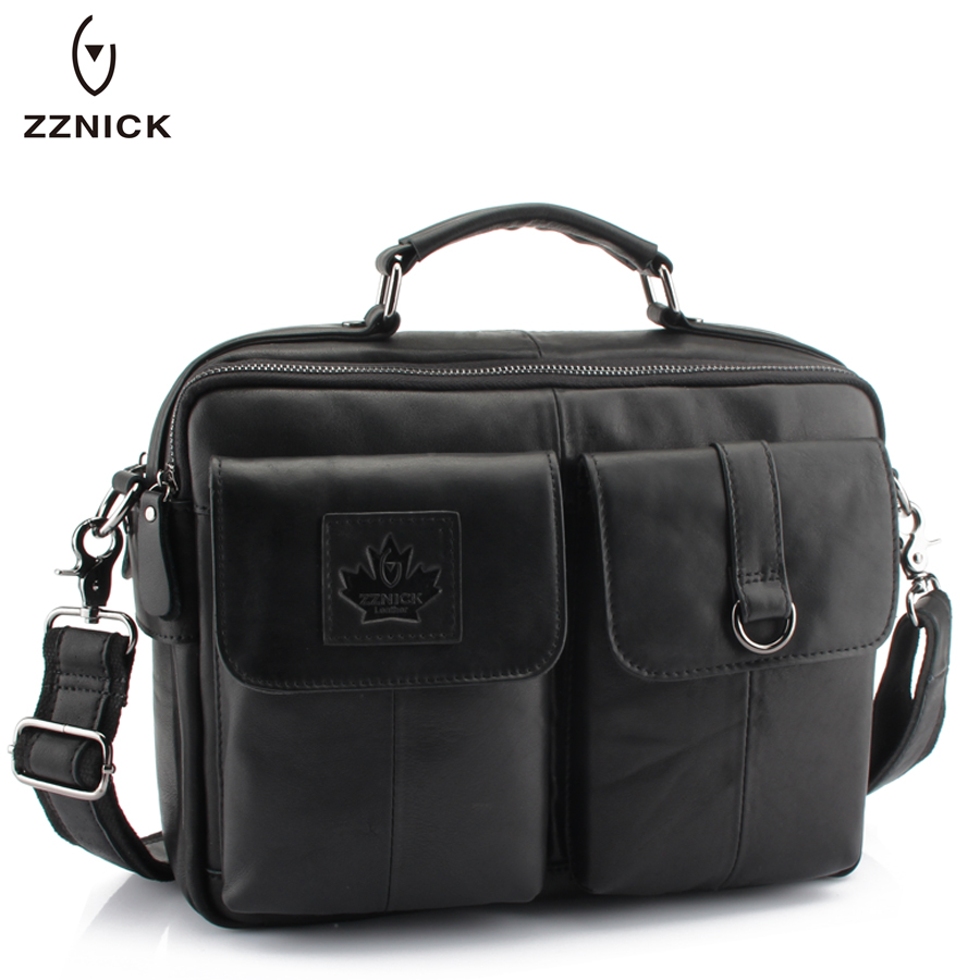 ZZNICK 2018 New Men's Messenger Bag Men Genuine Leather Business bags Laptop Tote Briefcases Crossbody bag Shoulder Handbags zznick 2018 new men s messenger bag men genuine leather business bags laptop tote briefcases crossbody bag shoulder handbags