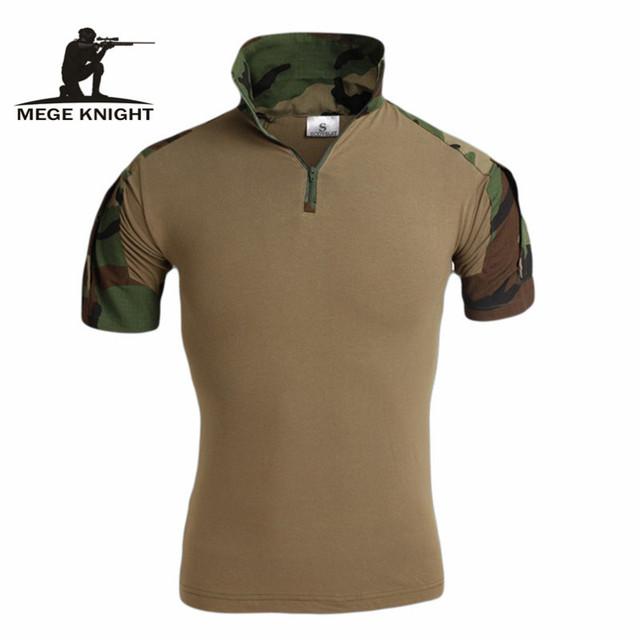 Mege hombres camuflaje ocasional de los hombres de algodón ejército táctico militar de combate de airsoft paintball acu camo mens tops y camisetas polo
