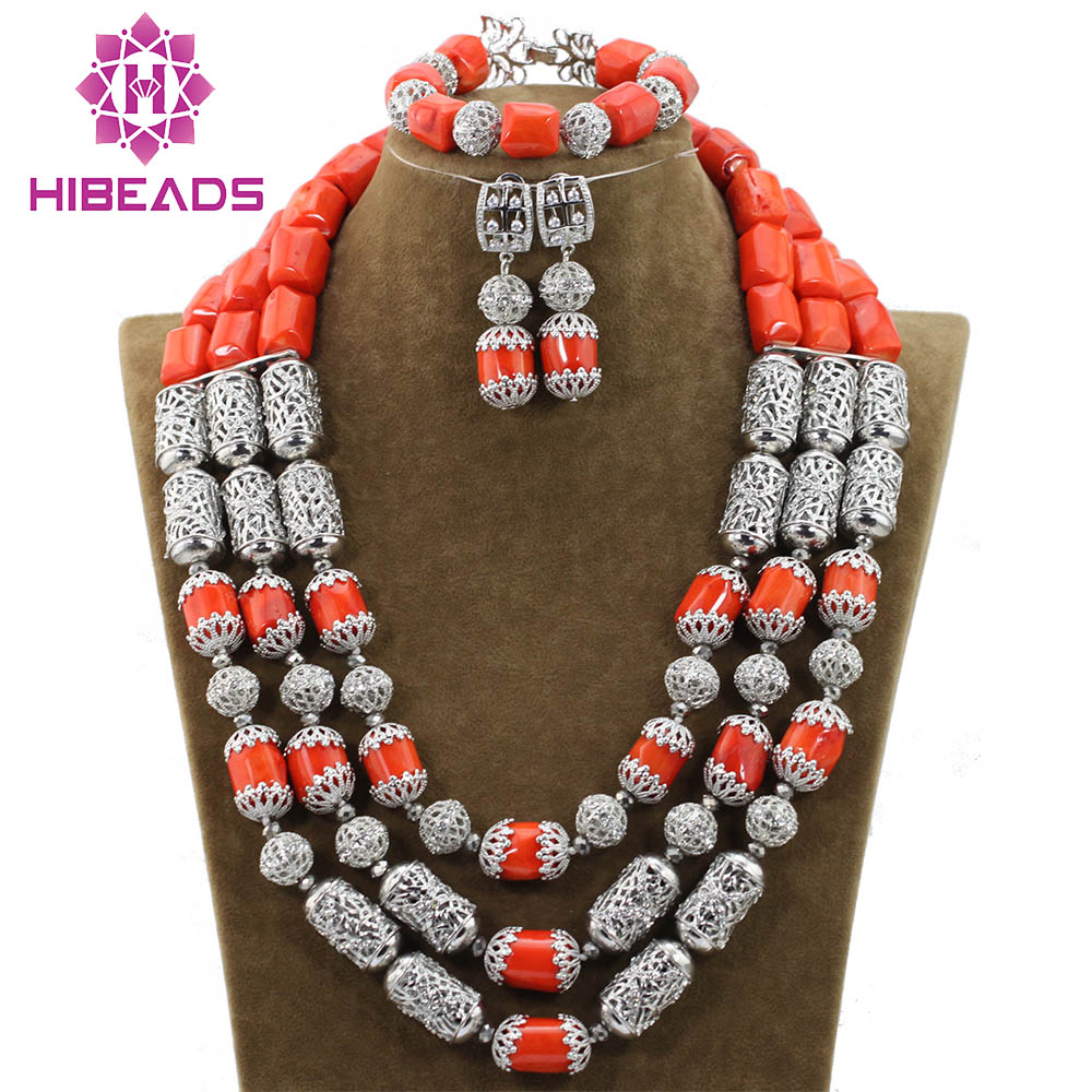 New Wedding Coral African Beads Jewelry Sets Silver Accessories Indian Bridal Necklace Earrings Set QW950