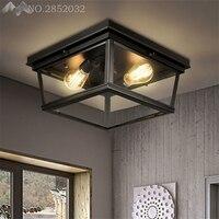 ガラス箱ヴィンテージ工業用ledシーリングライト飾り天井ランプ用ホームリビングルームライト天井照明器具の寝室のランプ