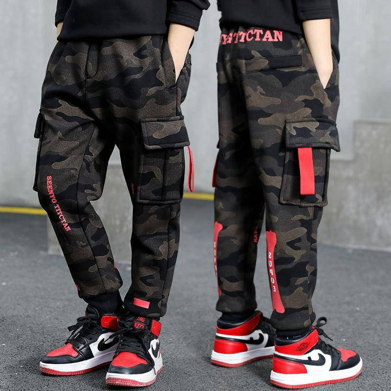 Boys Pants Spring And Autumn Models 2019 New Children's Big Children Korean Casual Pants Camouflage Sports Trousers