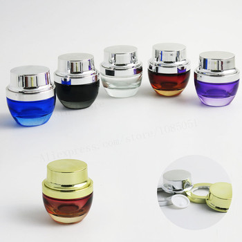 12 x 30g 50g Glass Cosmetic packaging Container 1oz 30ml 50ml Empty Glass Cream Serum Jar Clear Blue Red Purple Black Bottle