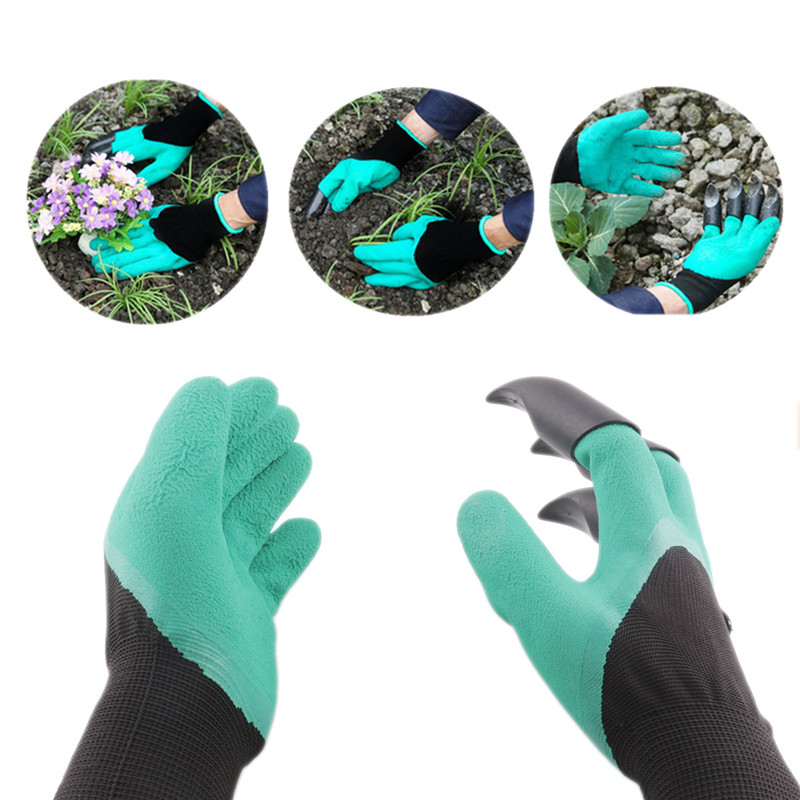 2 pair lot rubber garden gloves safety gardening gloves for soil flip man moman protection hand garden tools supplies products