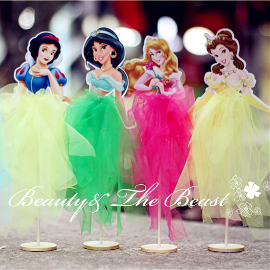 6pcs Princess Snow White Ariel Belle Cinderella Elsa Cupcake Toppers
