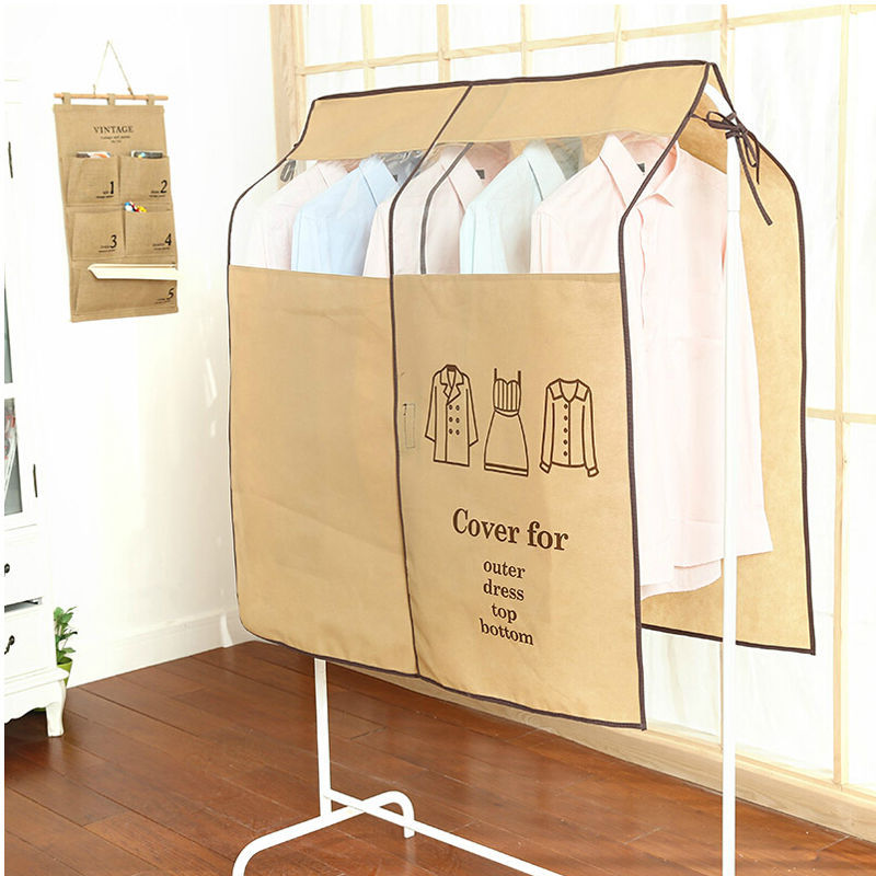 Wardrobe Hanging Suit Clothing Overcoat Dust Cover Garment Storage Bag Organizer