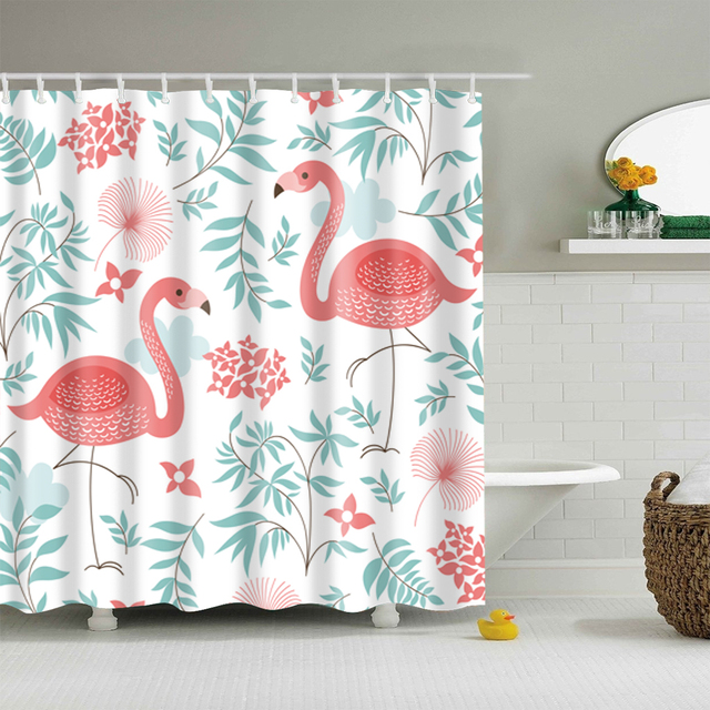 Flamingo Floral Waterproof Shower Curtain Thicken Bathroom Decoration 180x180cm