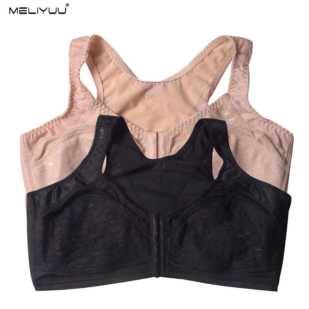 Summer Lace Plus Size Bras For Women Comfortable Wireless Padded Bralette Sexy Minimizer Bra Front Closure Underwear Large Bosom