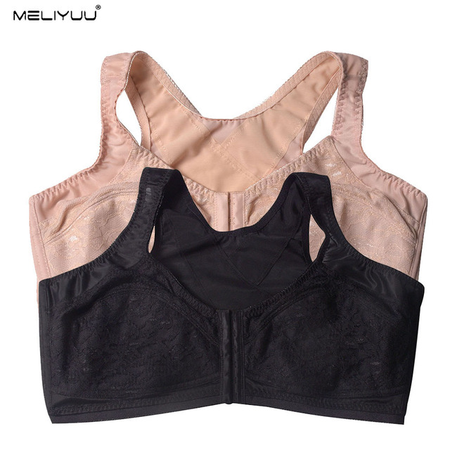 Summer Lace Plus Size Bras For Women Comfortable Wireless Padded Bralette Sexy Minimizer Bra Front Closure Underwear Large Bosom