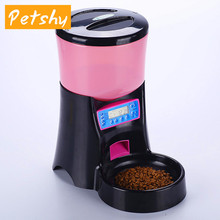 Petshy Automatic Pet Dog Food Feeder Cats Electric Feeding Dispensers With Voice Message Recording And LCD For Dogs Pet Products недорого
