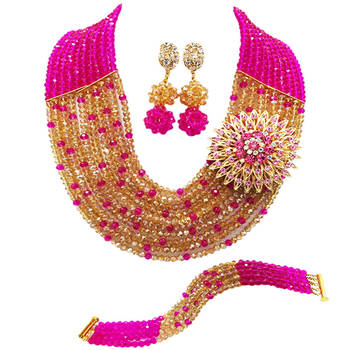 Laanc Fuchsia Pink Gold AB Crystal African Beads Necklace Jewelry Set for Women Nigerian Wedding C10SZ065