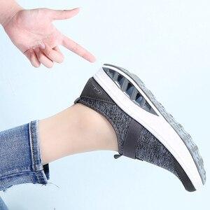 Image 5 - STQ 2020 sonbahar kadın Sneakers ayakkabı düz platform ayakkabılar kadınlar nefes örgü rahat ayakkabılar üzerinde kayma sürüngen yürüyüş ayakkabısı 7697