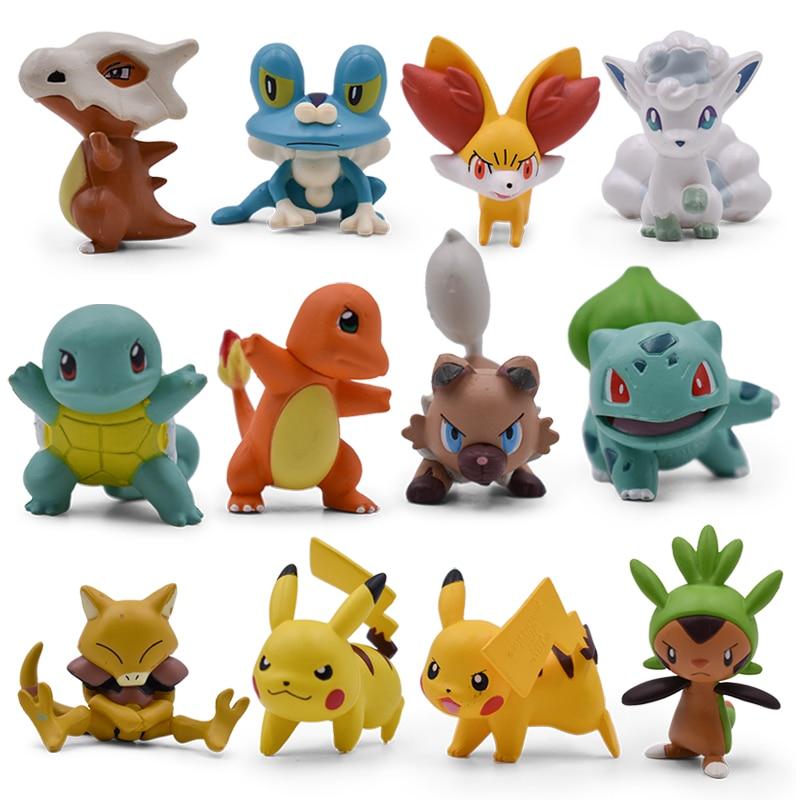 4CM Charmander Cubone Bulbasaur Alola Vulpix Fennekin Chespin Pikachu Squirtle Froakie Rockruff Abra Anime Action Toy Figures chespin fennekin o froakie