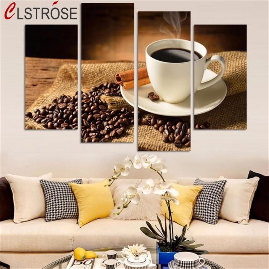 ღ ღClstrose New Limited ninguna Marcos lona 4 unidades pared café ...