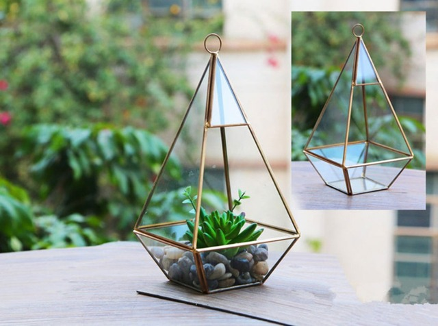 Multi Angle Flower Pot Planters Metal Gl Pots Desktop Decoration Irregular Geometric Vases Garden Art