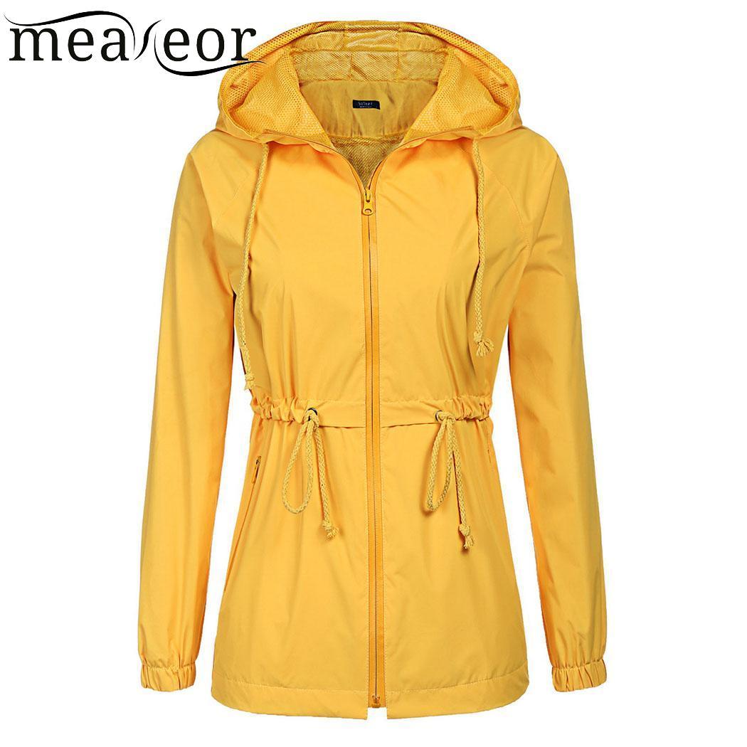 Meaneor Zipper Long Sleeve Raincoat Casual Women Rain Jacket Solid Lightweight Women Hooded Overcoat Waterproof Autumn Jackects
