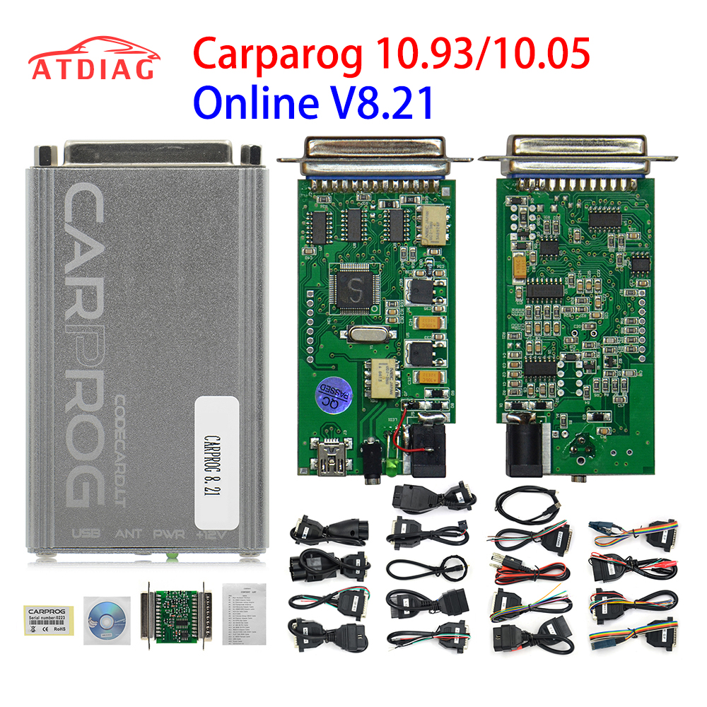 Online Programmer Carprog FW V8.21 V10.05 V10.93 Full Set With 21 Adapters All Software Activated Auto Repair Tool