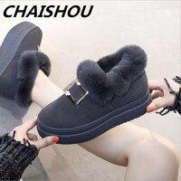 CHAISHOU2018 winter new height increase leather rabbit fur hair snow boots comfortable sponge cake women's boots Botas Femininos