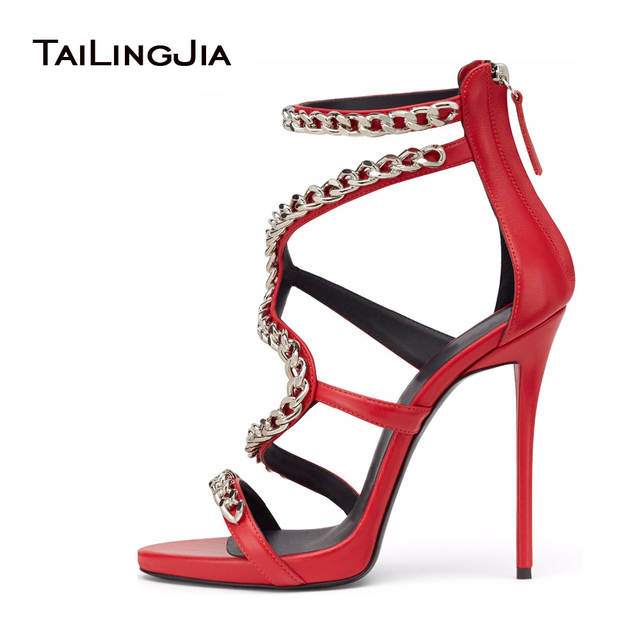 cheapest top fashion new release US $59.39 10% OFF Women Sexy Red High Heel Sandals with Chain Black Strappy  Extremely High Heels Ladies White Stiletto Summer Evening Dress Shoes-in ...
