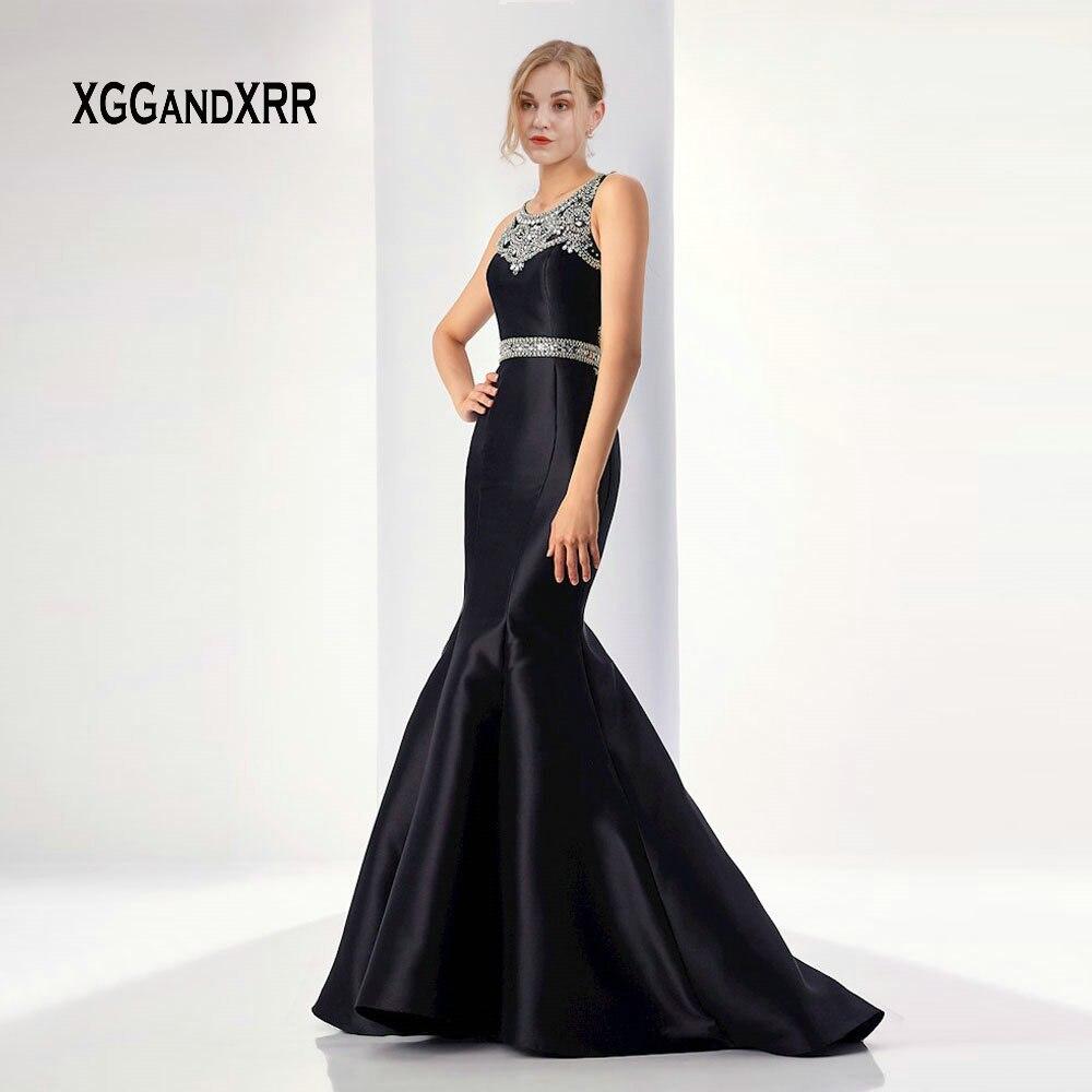 Robe de bal sirène noire 2019 luxe perles cristal balayage Train longue soirée robe de soirée dame Gala robe de soirée grande taille