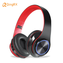 Bluetooth Headphones Wireless Earphone Glowing Stereo Portable Foldable Headphone TF Card LED Light with Mic